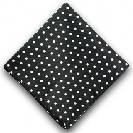 Black Pocket Square with White Spots